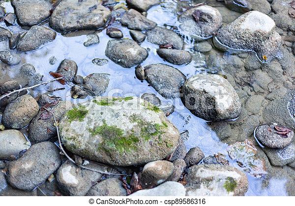 Grey stones in the water - csp89586316
