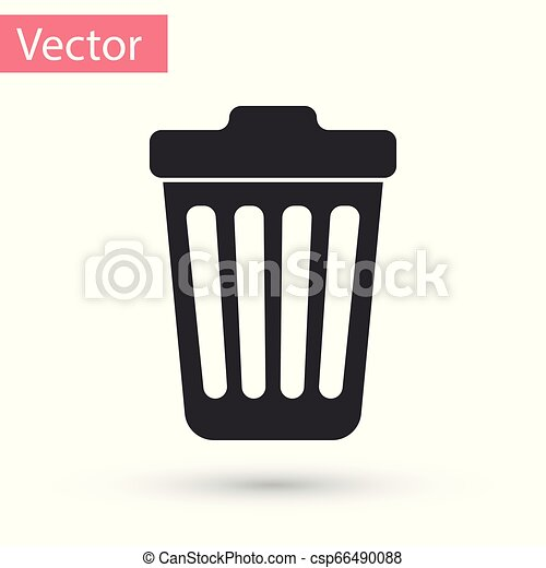 Grey Trash can icon isolated on white background. Garbage bin sign. Vector Illustration - csp66490088
