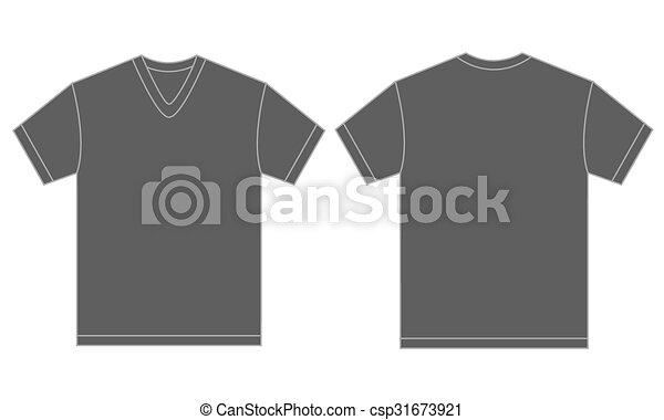 Grey v-neck shirt design template for men. Vector illustration of ...