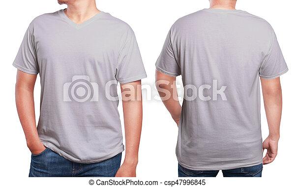 Grey V Neck Shirt Design Template