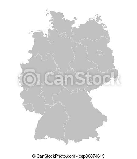 Outline Germany Map All Federal States On Separate Layers Vector - Outline map of germany with states