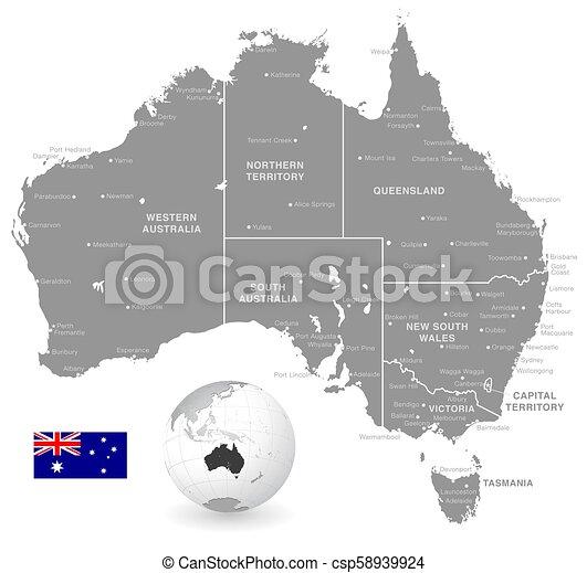 Map Of Australia Political.Grey Vector Political Map Of Australia