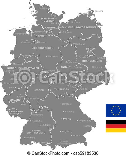 Grey Vector Political Map Of Germany Grey Vector Map Of Germany With Administrative Borders And City And Region Names Canstock
