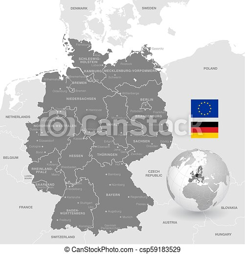 Grey Vector Political Map Of Germany Grey Vector Map Of Germany