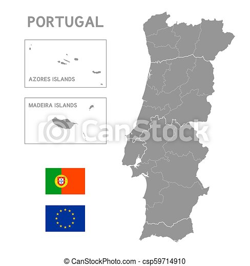 Grey Vector Political Map Of Portugal Grey Vector Map Of Portugal