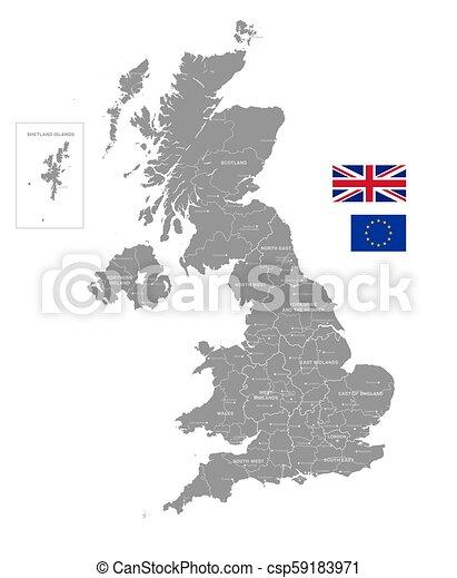 Political Map Of Uk.Grey Vector Political Map Of The Uk Grey Vector Map Of The Uk With