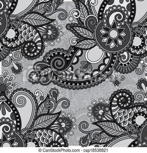 Grey Vintage Floral Ornamental Template On Flower Background Black