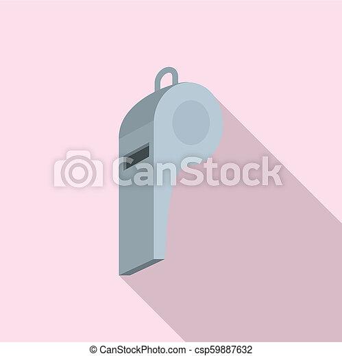 Grey whistle icon, flat style - csp59887632
