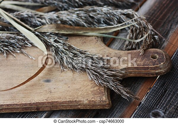 Grey wooden background and rye close up - csp74663000