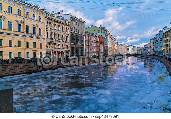 Griboyedov Canal at winter, Saint Petersburg, Russia - csp43473691