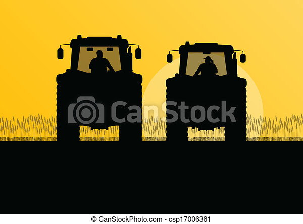 griculture tractors in cultivated country field landscape background illustration vector - csp17006381
