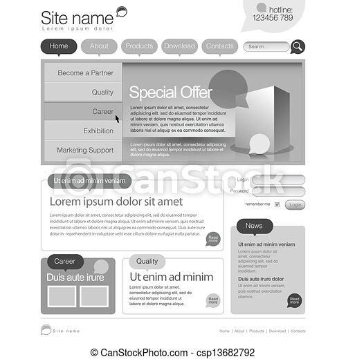 grid., ウェブサイト, 灰色, テンプレート, 960 - csp13682792