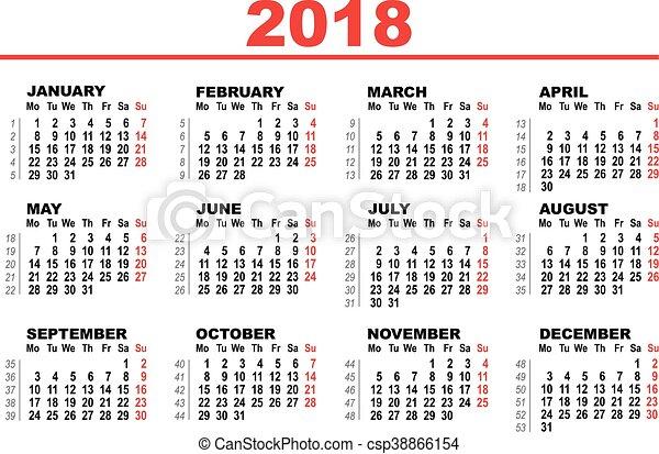 Grid calendar for 2018. illustration in vector format. | CanStock