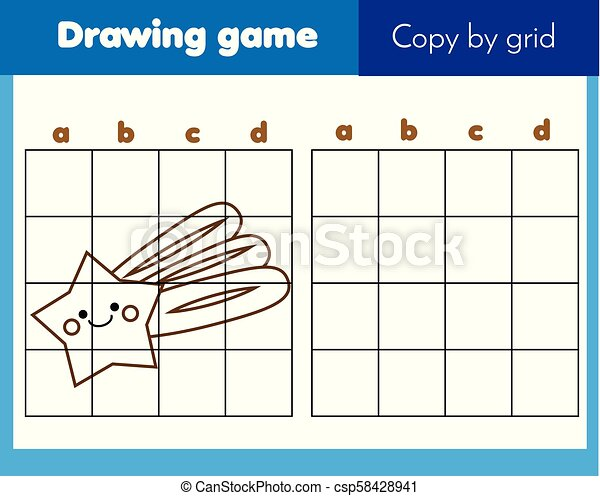 Grid copy worksheet. educational children game. Printable Kids activity  sheet with cute star. Copy the picture