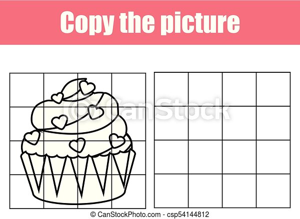 Grid copy worksheet. educational children game. Printable Kids activity  sheet with Valentines cupcake. Copy the picture