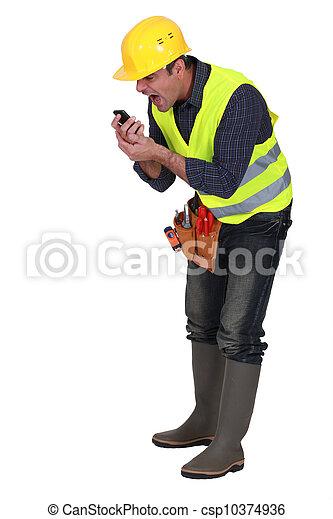 gridare, arrabbiato, costruttore, telefono - csp10374936