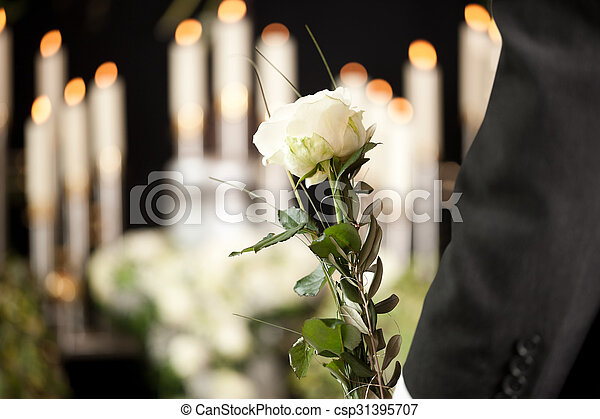 Grief Man With White Roses At Urn Funeral Religion Death And