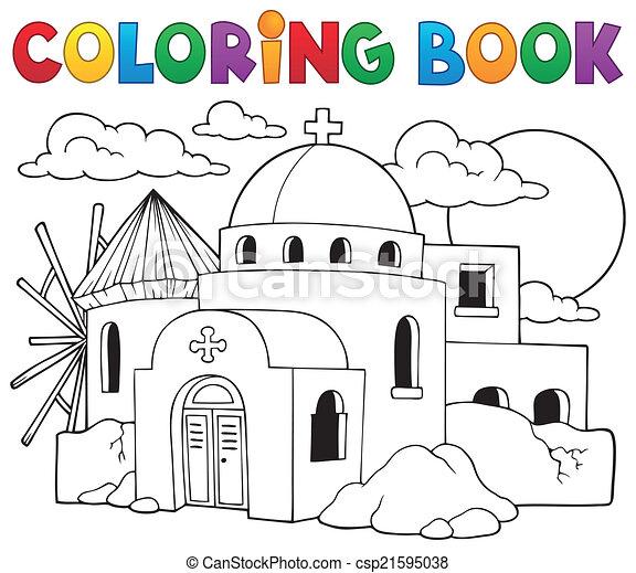 Griego, tema, 2, libro colorear. Colorido, eps10, illustration ...