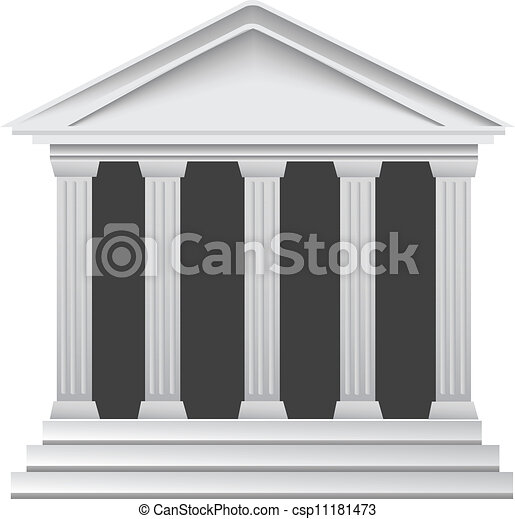 griekse , historisch, oud, kolommen, bank - csp11181473
