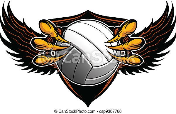 griffes, vecteur, volley-ball, serres, aigle, illustration - csp9387768