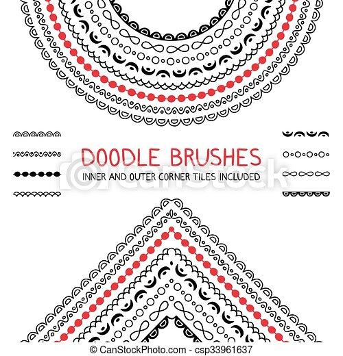 griffonnage, brosses, ensemble - csp33961637