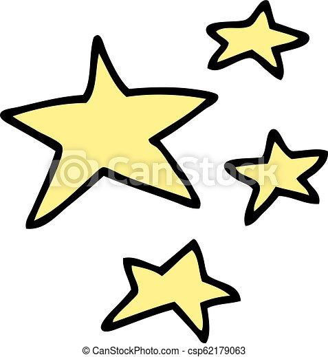 griffonnage, dessin animé, étoiles - csp62179063