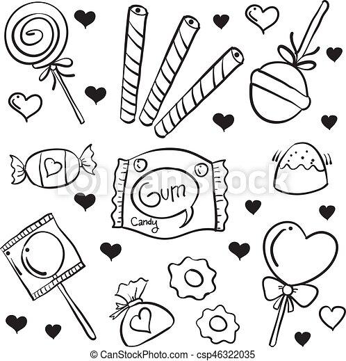 Griffonnage dessiner divers bonbon main dessiner - Bonbon a dessiner ...