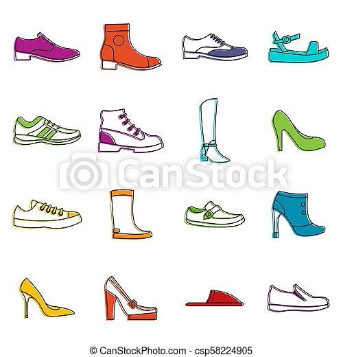 griffonnage, ensemble, chaussure, icônes - csp58224905