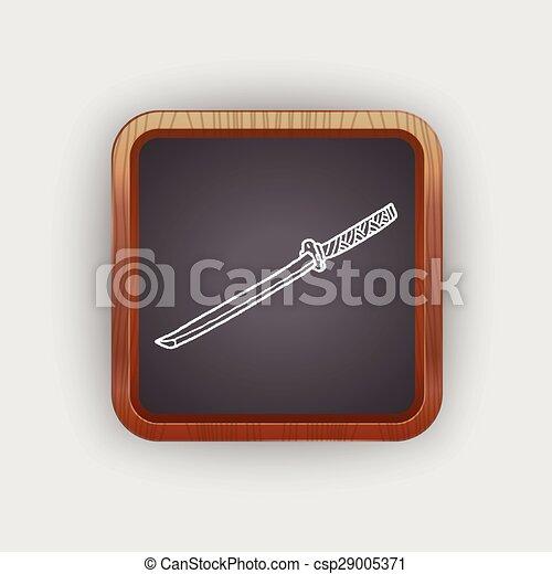 griffonnage, japonaise, couteau - csp29005371