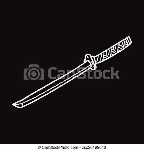 griffonnage, japonaise, couteau - csp28199040