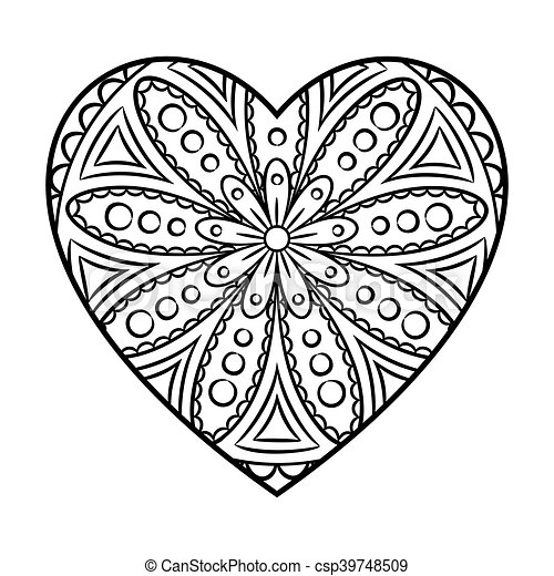 Griffonnage, mandala, coeur. Page., coeur, coloration, acceptation ...