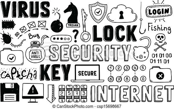 griffonnage, sécurité, vecteur, ensemble, internet - csp15698667