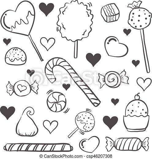 Griffonnage style dessiner bonbon main style griffonnage dessiner bonbon main vecteur - Bonbons dessin ...
