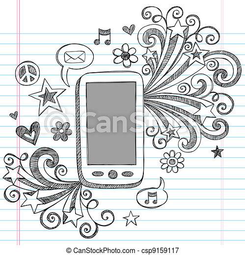 griffonnage, téléphone portable, vecteur, conception, pda - csp9159117