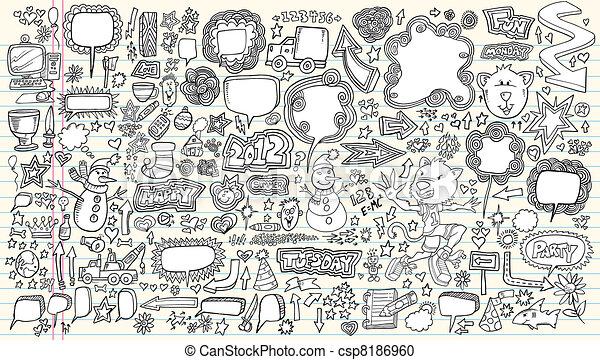 griffonnage, vecteur, ensemble, illustration - csp8186960