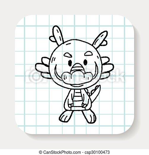 Griffonnage zodiaque dessin dragon chinois illustration - Comment dessiner un dragon chinois ...