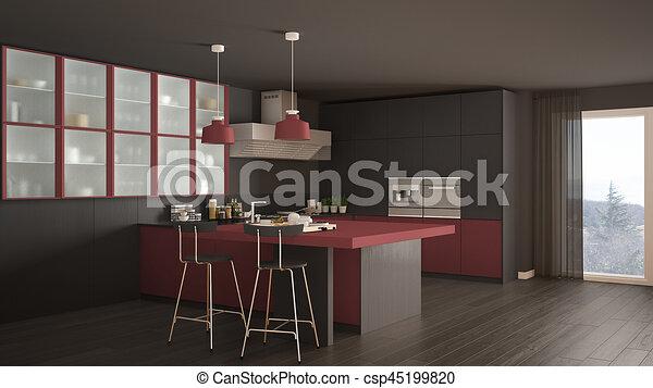 Grigio, classico, moderno, pavimento, disegno, rosso, parquet ...