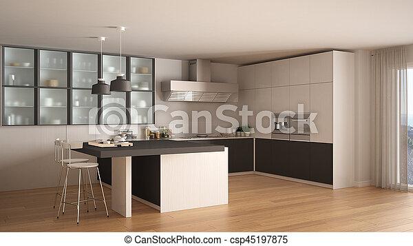 Grigio, classico, moderno, pavimento, disegno, parquet, interno ...