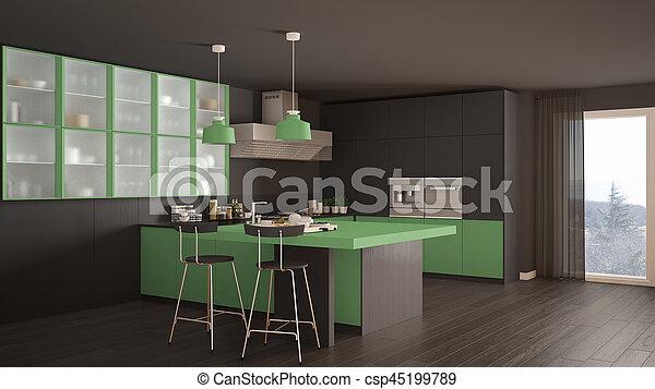 Grigio, classico, moderno, pavimento, verde, parquet, disegno ...