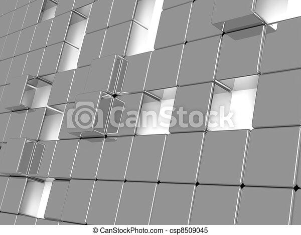 grigio, cubi, astratto, metallico, fondo, consistere - csp8509045