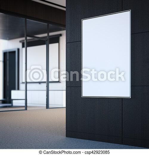 grigio, manifesto, wall., interpretazione, bianco, vuoto, 3d - csp42923085