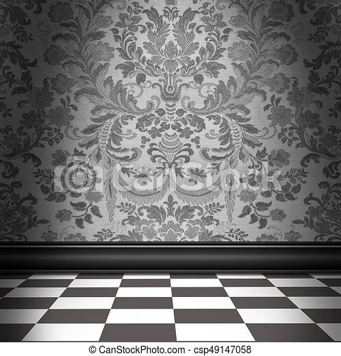 Grigio pavimento carta da parati damasco scacchiera for Carta da parati damascata rossa