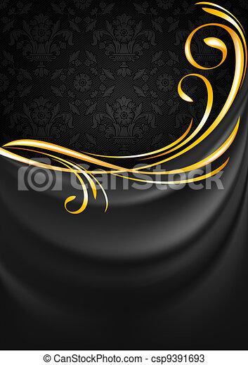 grigio, tessuto, oro, vignette, scuro, fondo., tenda - csp9391693