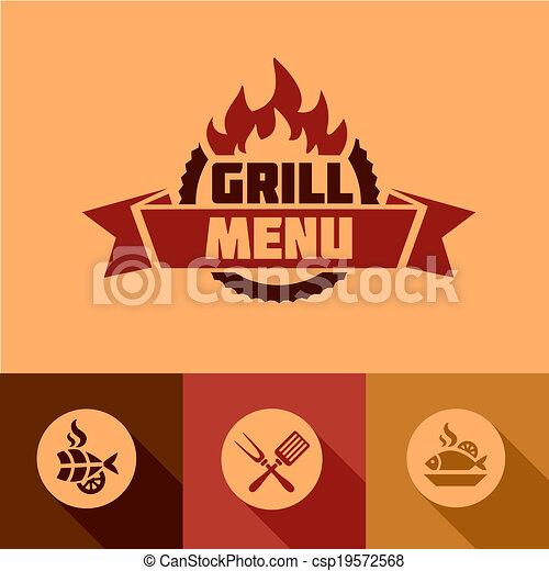 griglia, appartamento, elementi, disegno, menu - csp19572568