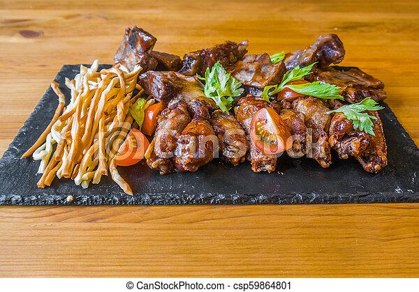 griglia, cipolla, assortito, carne, spuntini, anelli, birra, profondo-fritto, formaggio, bar. - csp59864801