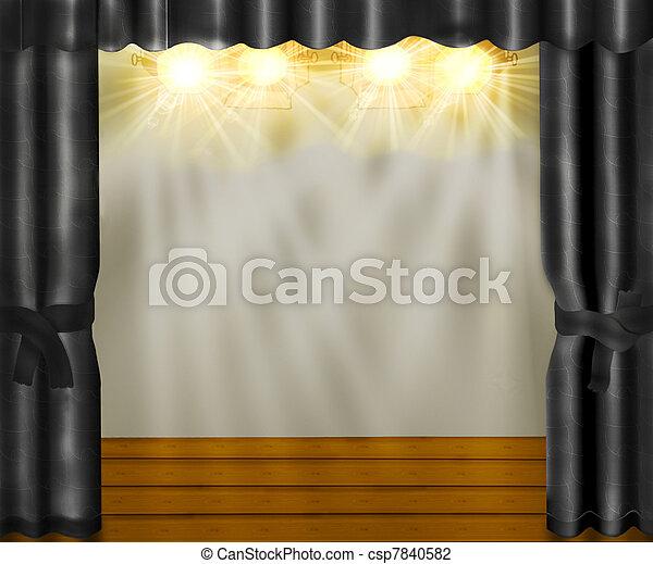 Grijs, fluwelen gordijnen, houten, floor., toneel.