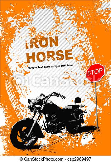 grijs, image., illustratie, vector, motorfiets, achtergrond, sinaasappel - csp2969497