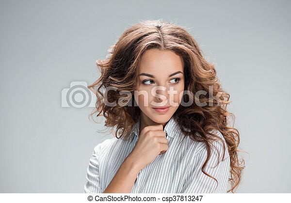 grijs, nadenkend, vrouw, achtergrond, vrolijke  - csp37813247