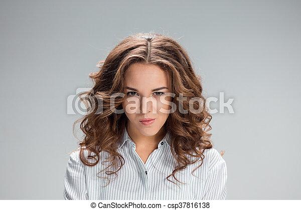 grijs, nadenkend, vrouw, achtergrond, vrolijke  - csp37816138