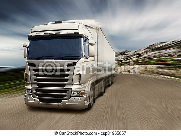 grijs, vrachtwagen, snelweg - csp31965857